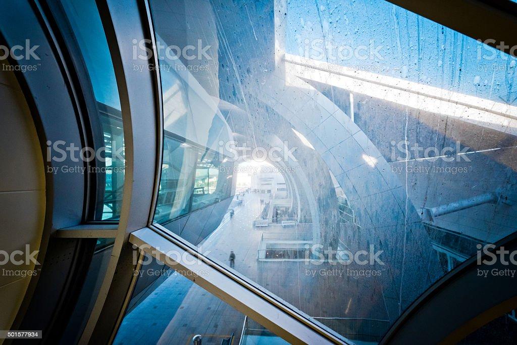 Metro Station in Dubai seen through dirty window stock photo