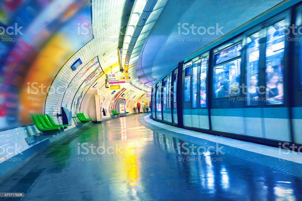 Metro station in Paris stock photo