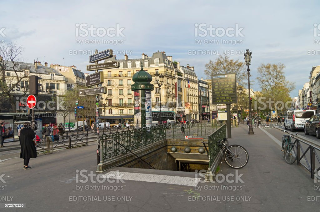 Metro station in Pigal Square. stock photo