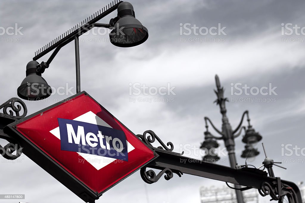 Metro Station Sign in Madrid Spain stock photo