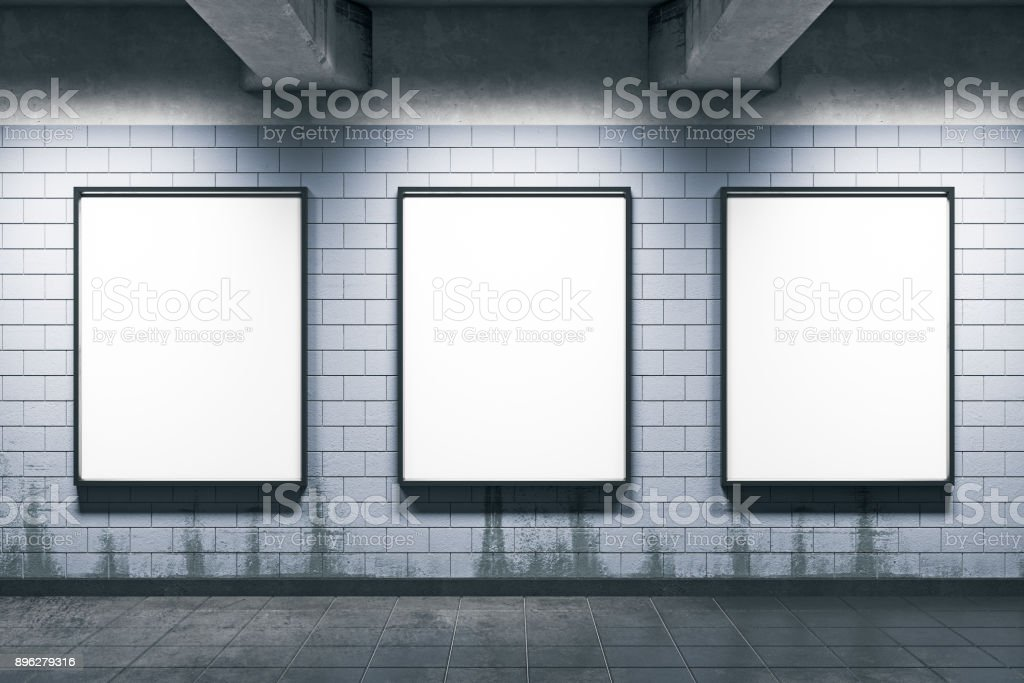 Metro station with empty posters royalty-free stock photo