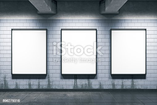 istock Metro station with empty posters 896279316