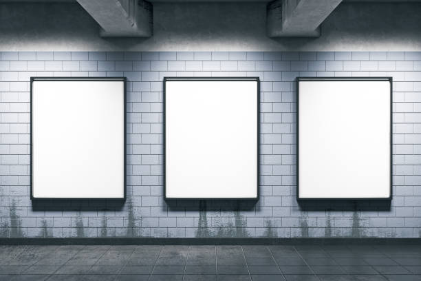 Metro station with empty posters stock photo