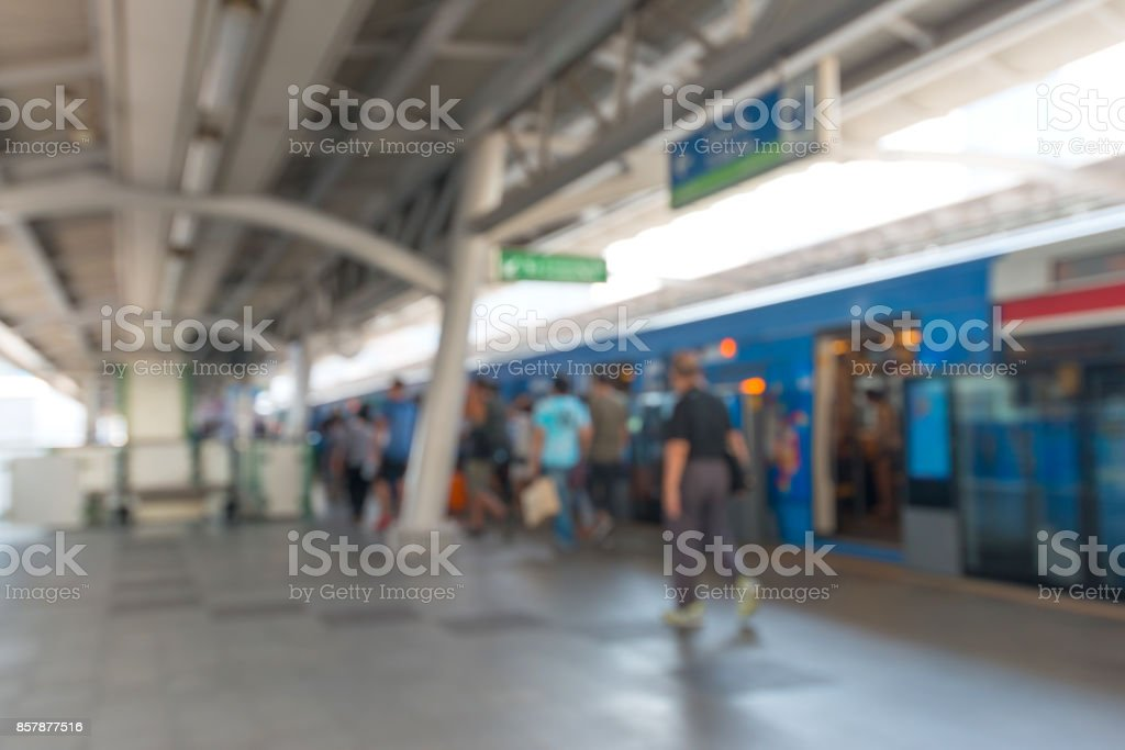 Metro station with passengers stock photo