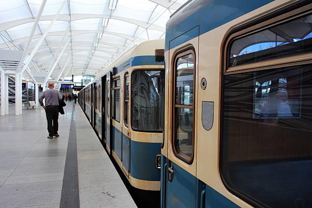 metro train at the subway station - munich train station bildbanksfoton och bilder