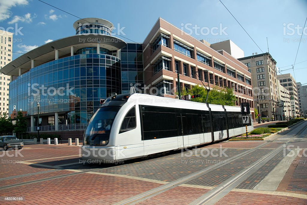 Metro Train Crossing Intersection royalty-free stock photo