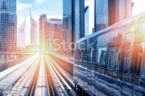 Metro train downtown in Dubai. iStockalypse Dubai - UAE 2015