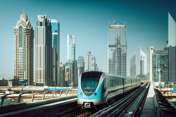Metro Train in Dubai, UAE stock photo