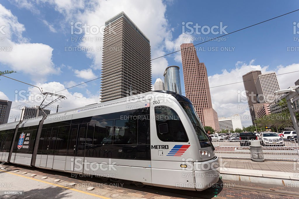 Metro Train in Houston Downtown, Texas stock photo