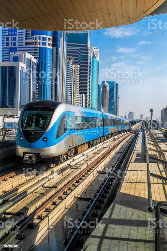 Metro train on the Red line in Dubai, United Arab Emirates stock photo