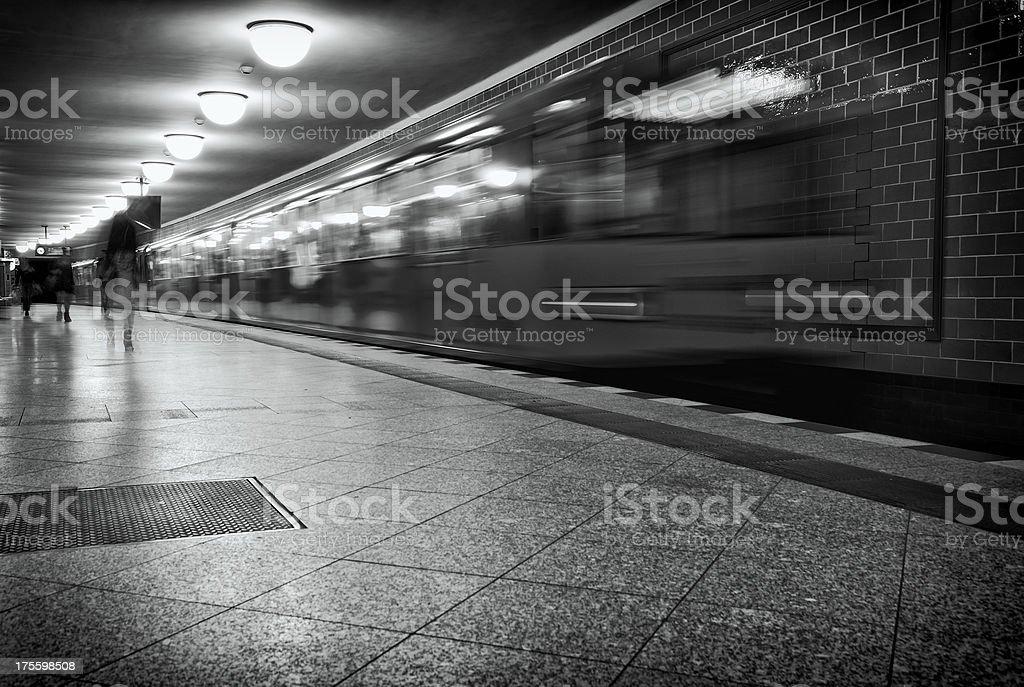 Metro train passing - Berlin royalty-free stock photo