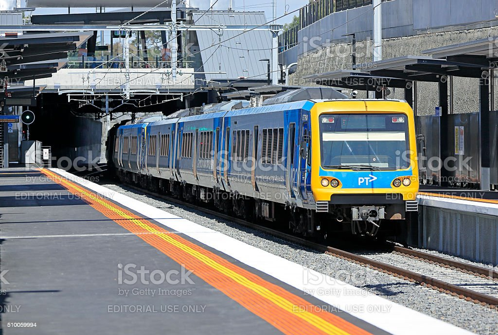 Metro train stops at new low-level Gardiner station in Melbourne stock photo