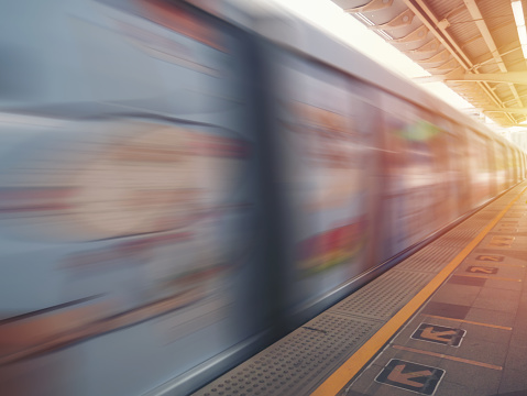 Metro Train with motion blur effect morning time