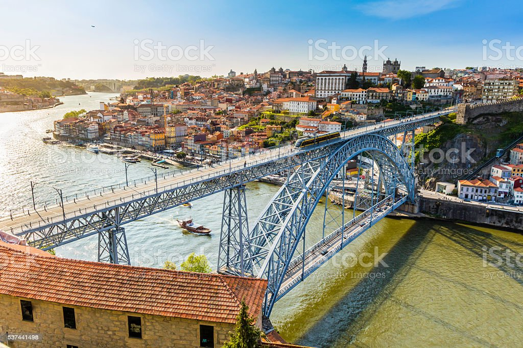 Metro travelling accross the Dom Luis I bridge in Porto stock photo