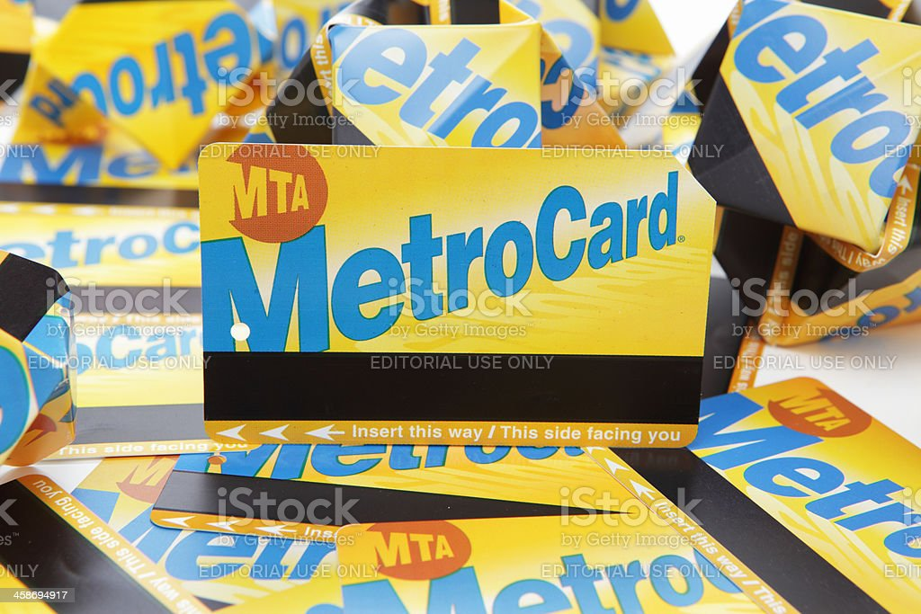 NYC MTA MetroCard subway and bus fare cards stock photo