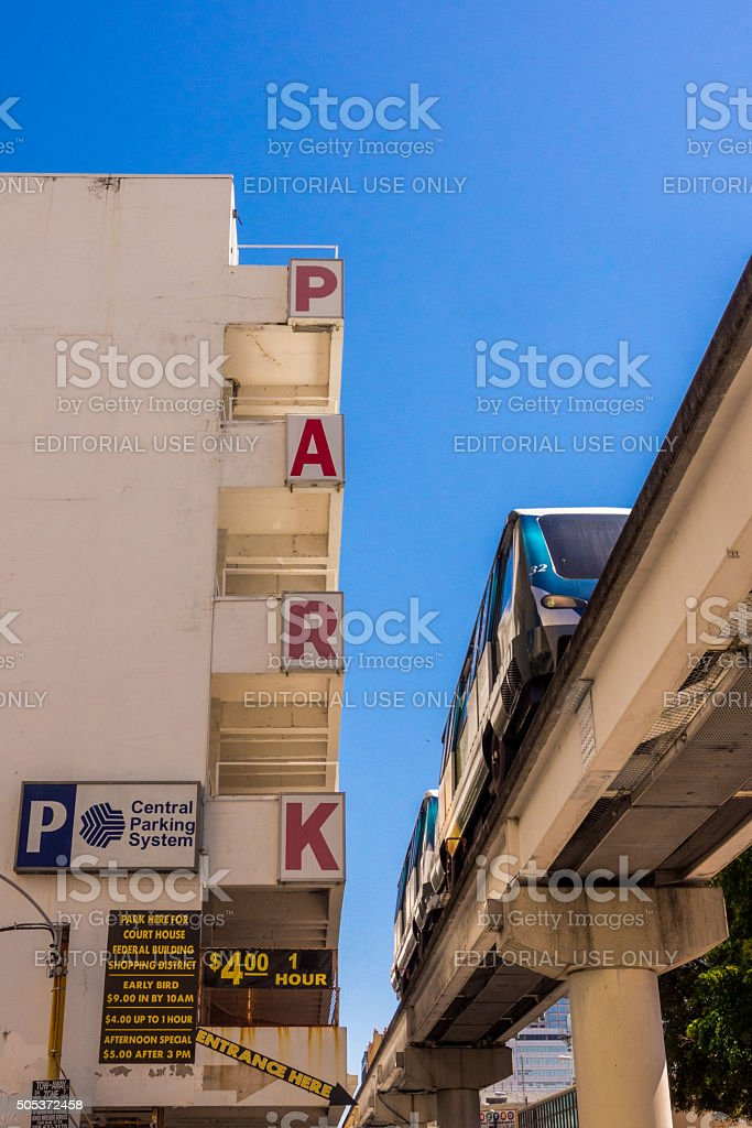 Metromover and Central Parking System in Miami stock photo