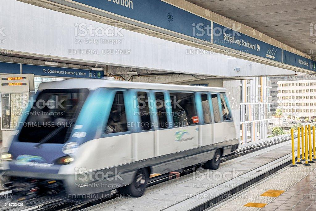 Metromover Station in Brickell, Miami stock photo