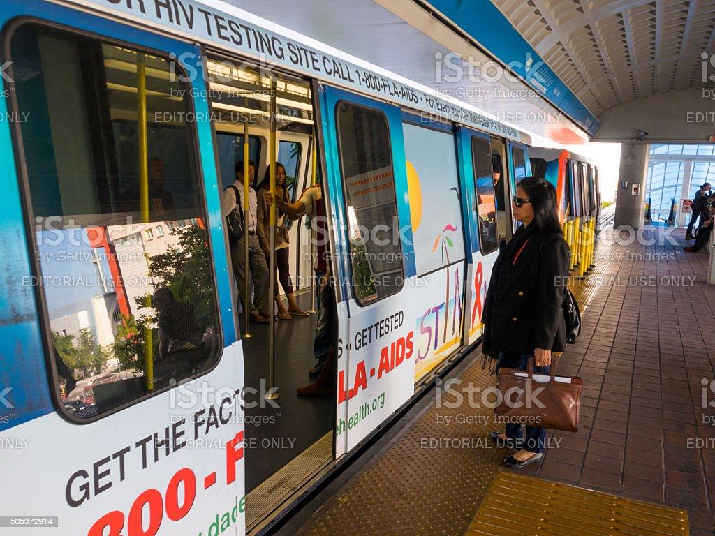 Metromover station in Miami, Florida stock photo