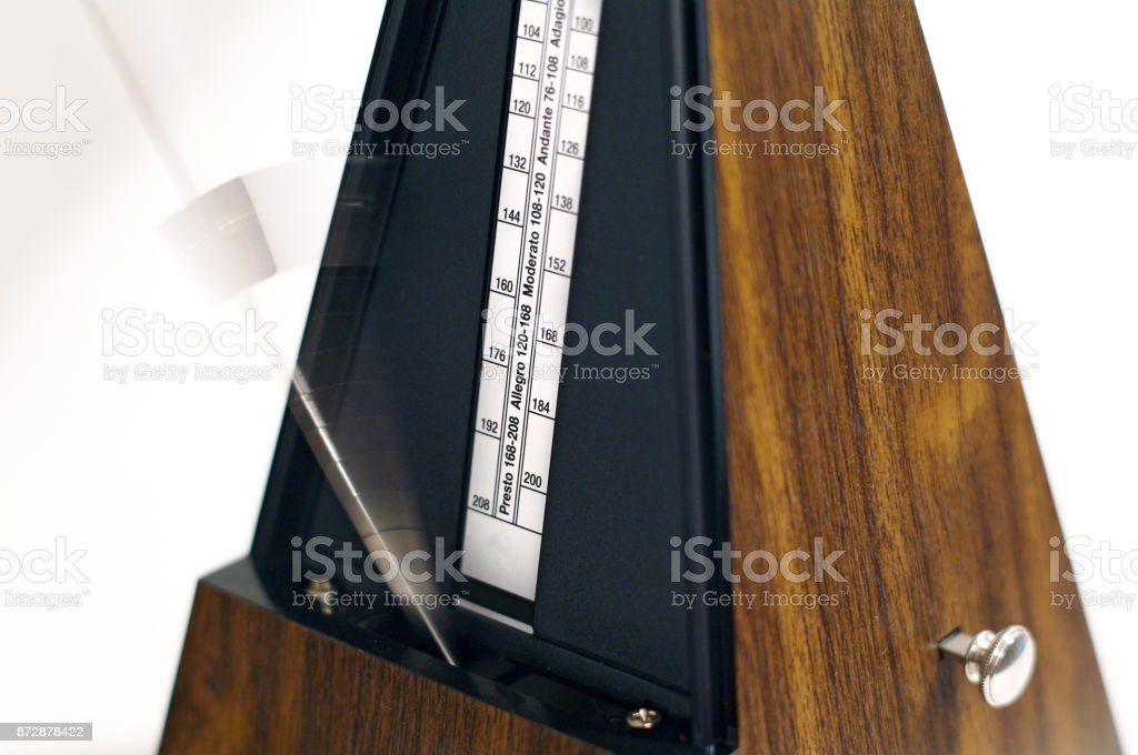 Metronome collage effect, closeup, isolated and on a plain background stock photo
