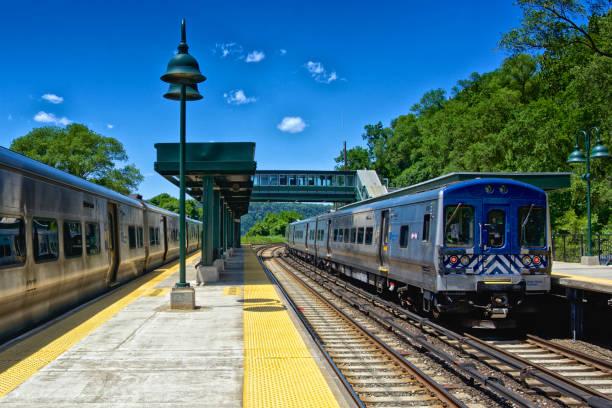 Metro-North Commuter Railroad trains at Spuyten Duyvil station, Bronx, New York City stock photo