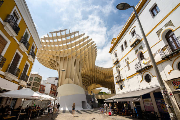 Metropol Parasol wooden structure in Seville, Spain stock photo