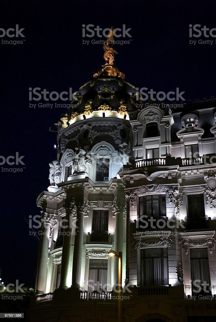 Metropolis Building in Madrid, Spain on the night royalty-free stock photo