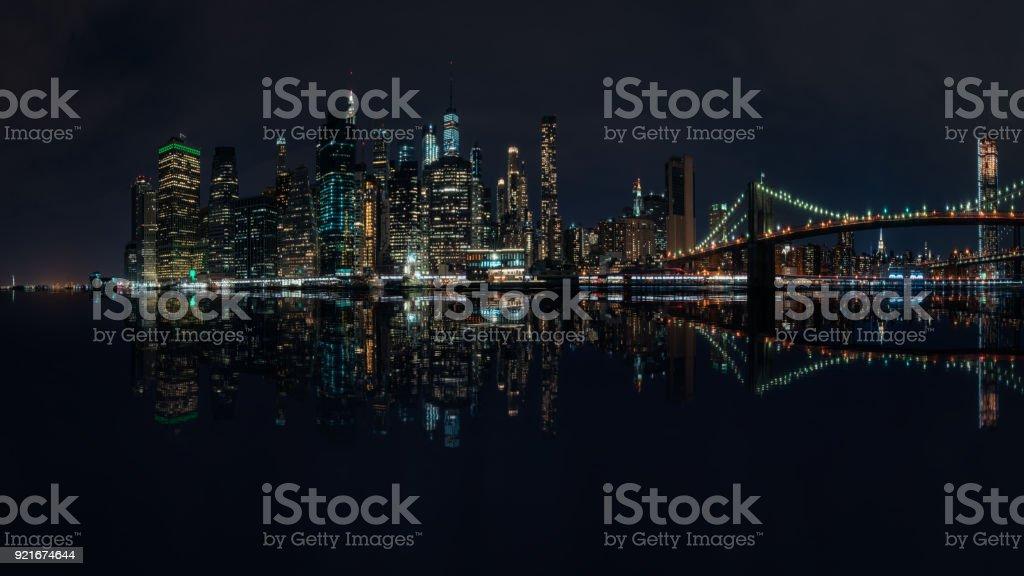 Metropolis by night, New York City skyline stock photo