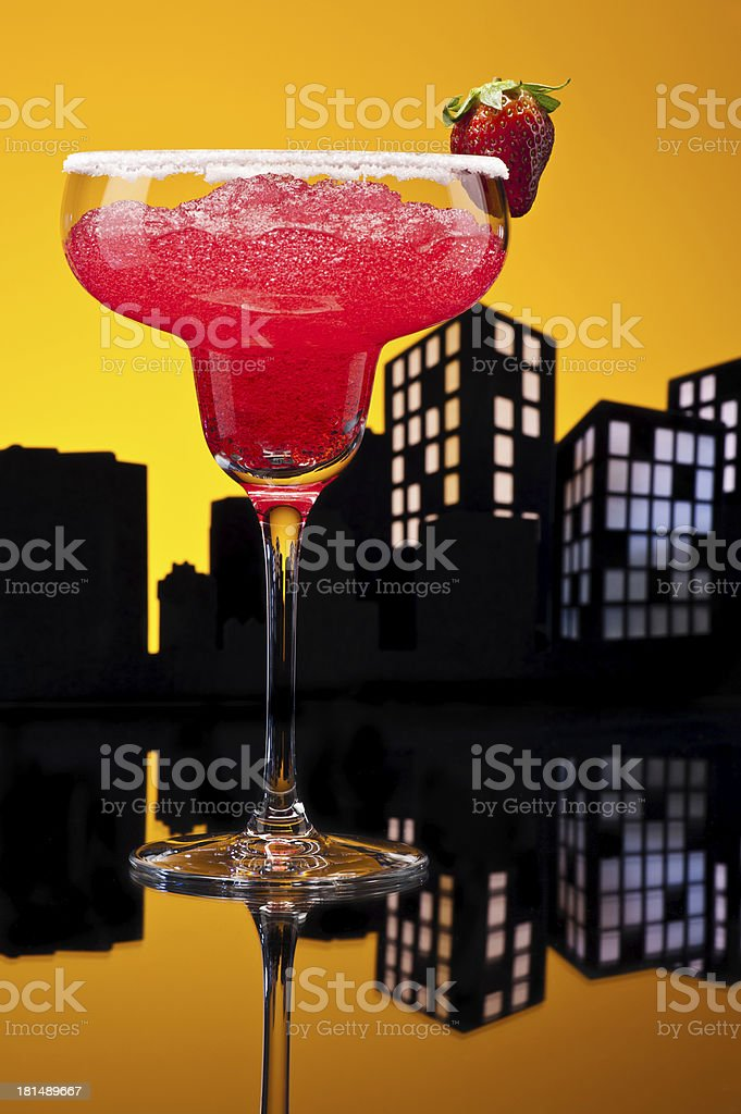 Metropolis strawberry Margarita cocktail royalty-free stock photo