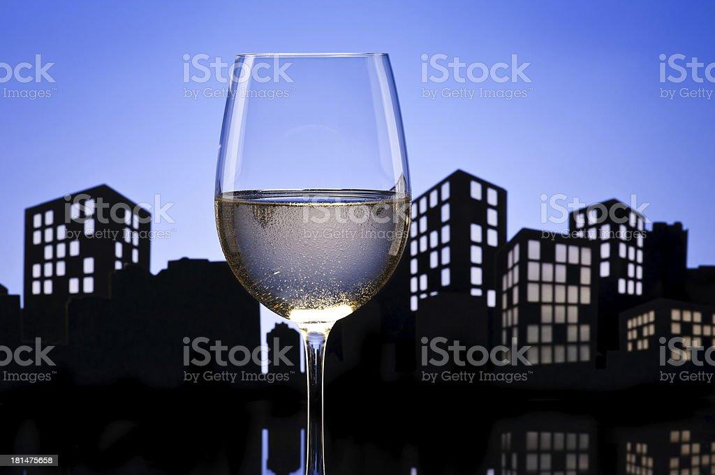 Metropolis White Wine royalty-free stock photo