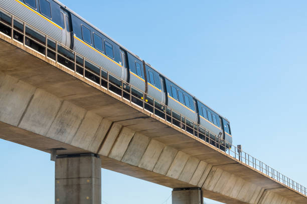 Metropolitan Atlanta Rapid Transit Authority Marta subway train public transportation on overpass outside stock photo