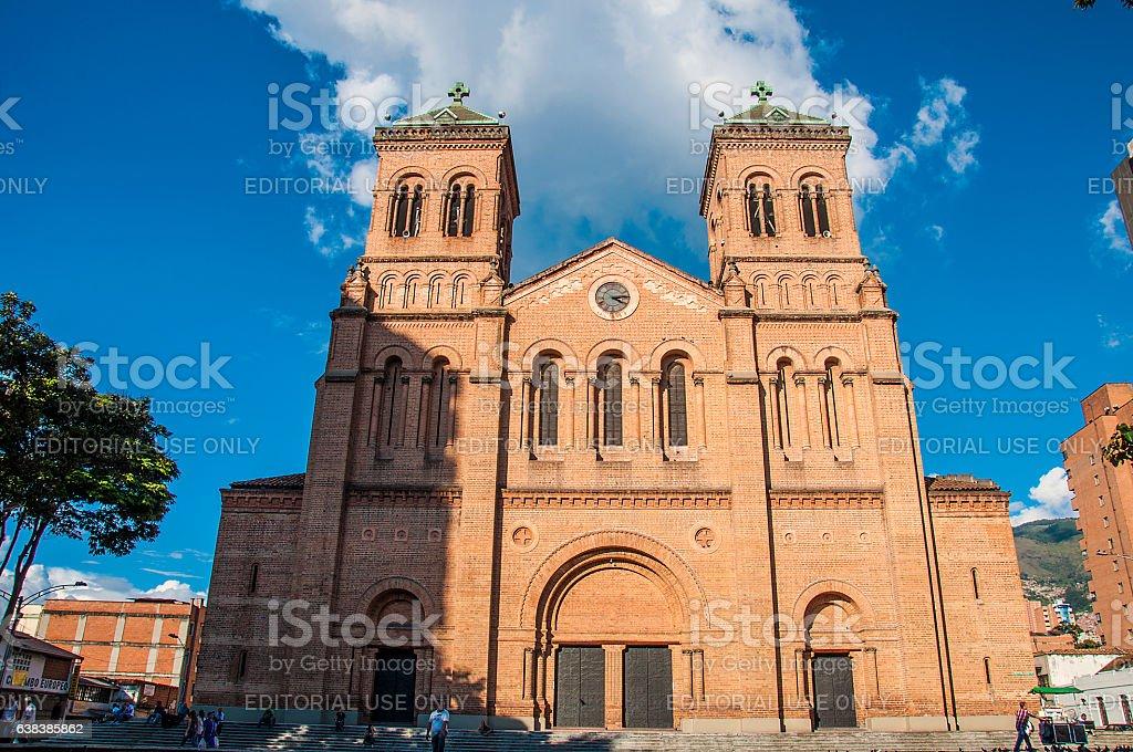 Metropolitan cathedral in Medellin stock photo