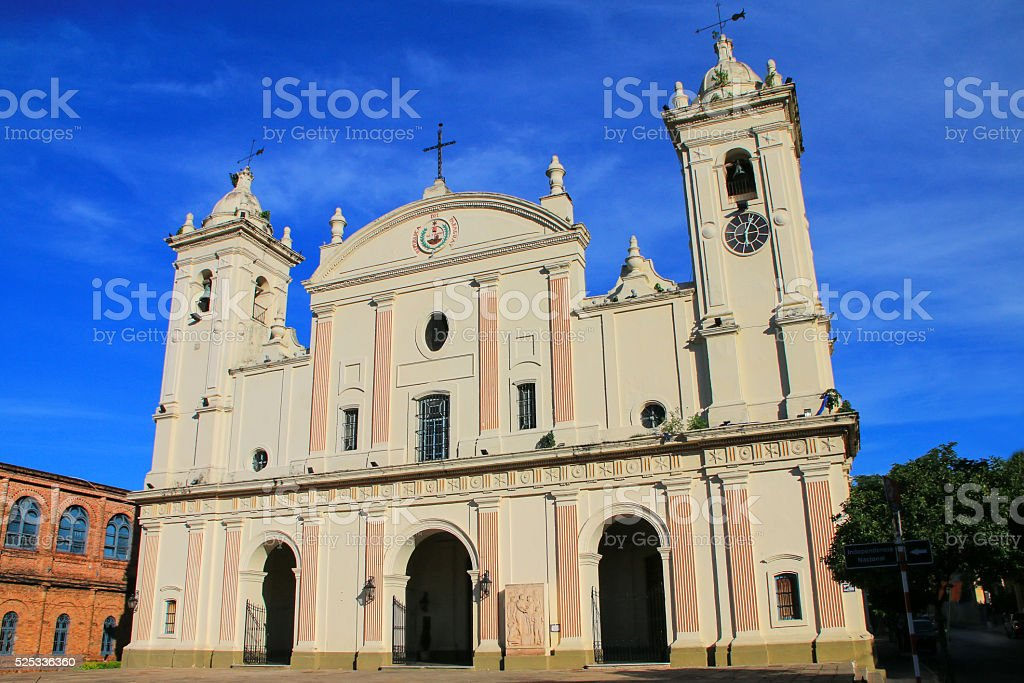 Metropolitan Cathedral of Our Lady of the Assumption in Asuncion stock photo