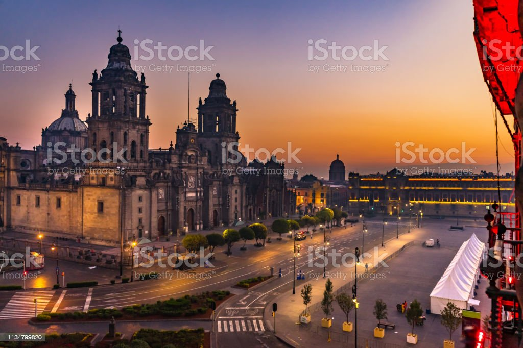 Metropolitan Cathedral and President\'s Palace Sunrise Morning Zocalo...
