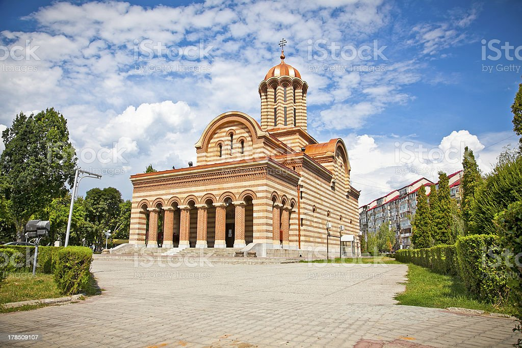 Metropolitan Church, Targoviste ,Romania. stock photo
