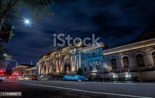 New York, NY, USA - April 20, 2019: The Metropolitan Museum of Art at Night