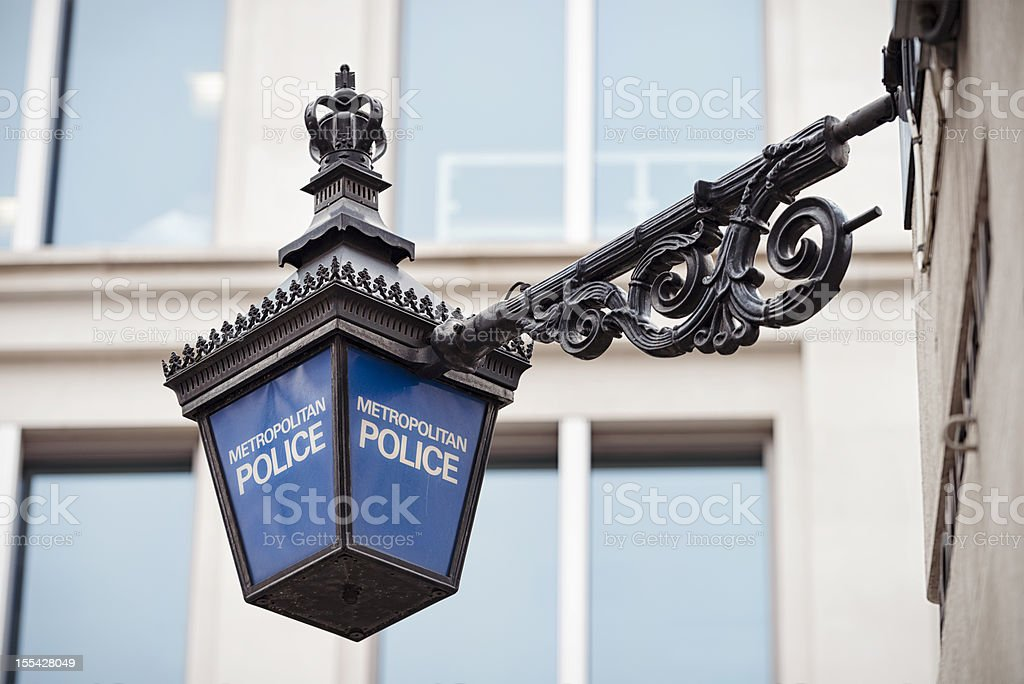 Metropolitan Police Lantern in London stock photo