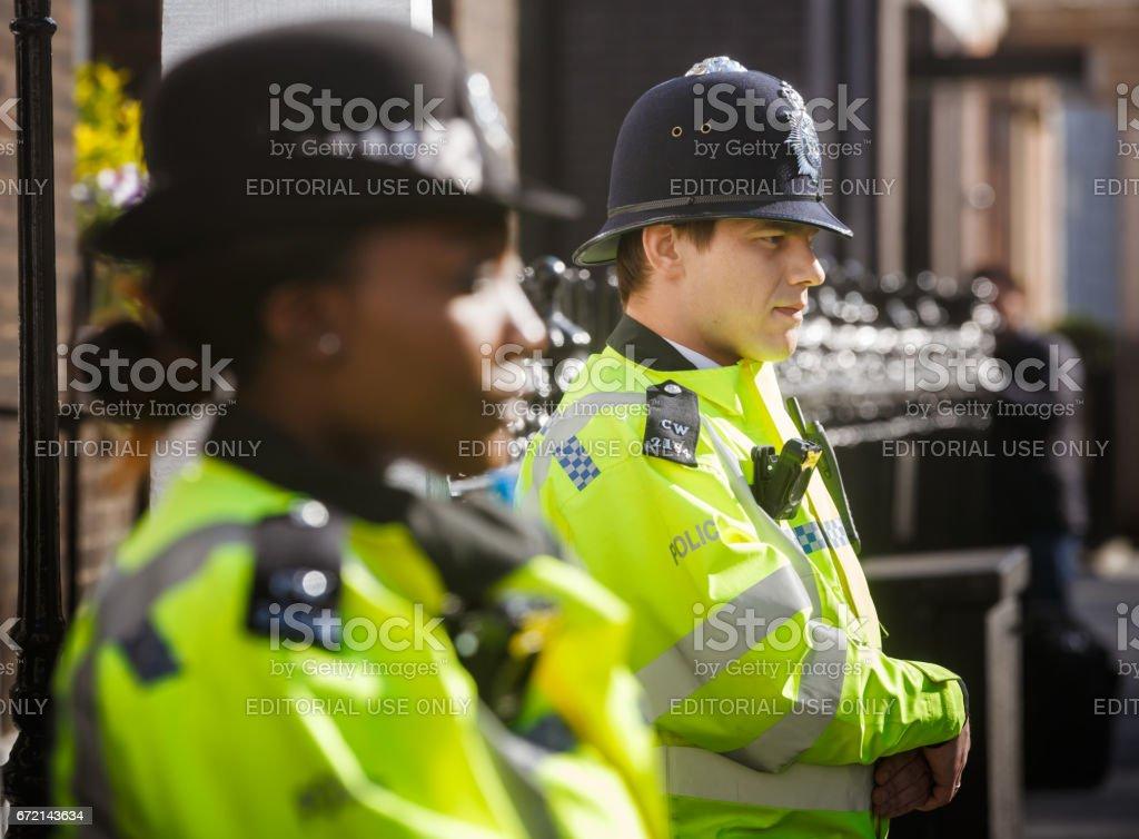 Metropolitan Policewoman on duty in London stock photo