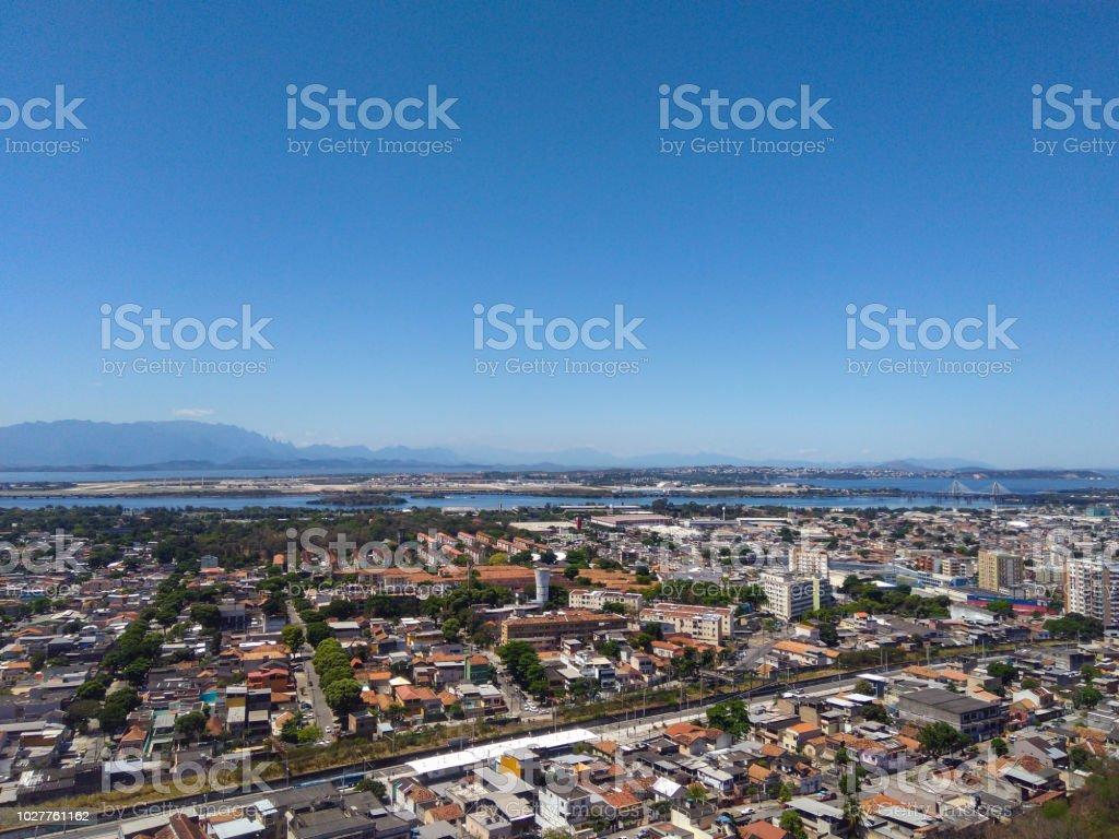 Metropolitan region of Rio de Janeiro seen from above - Região metropolitana do Rio de Janeiro vista de cima (Penha - Zona Norte - Rio de Janeiro) stock photo