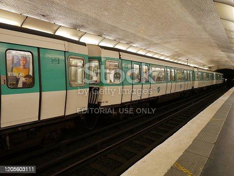 Paris, France - april 2019: metropolitan train at underground station