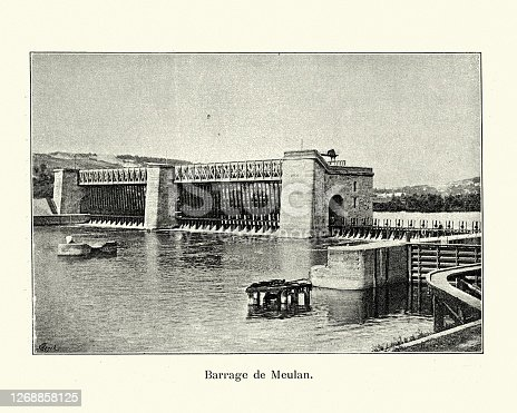 Vintage photo of the Barrage de Meulan on the River Siene, Hardricourt, France 19th Century