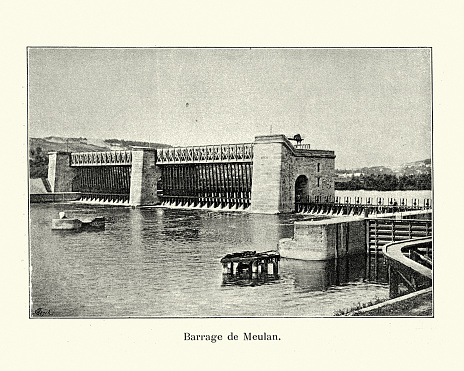 Vintage photo of the Barrage de Meulan on the River Siene, Hardricourt, France 19th Century