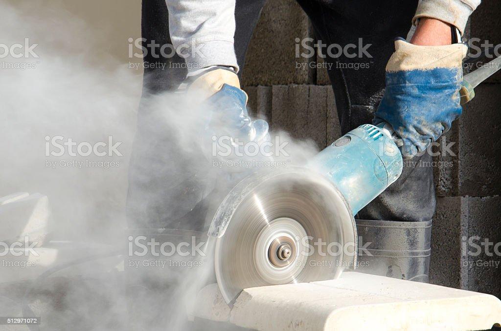 Meuleuse, Scie électrique, Poussière, Couper, Gants de protection, Lame stock photo