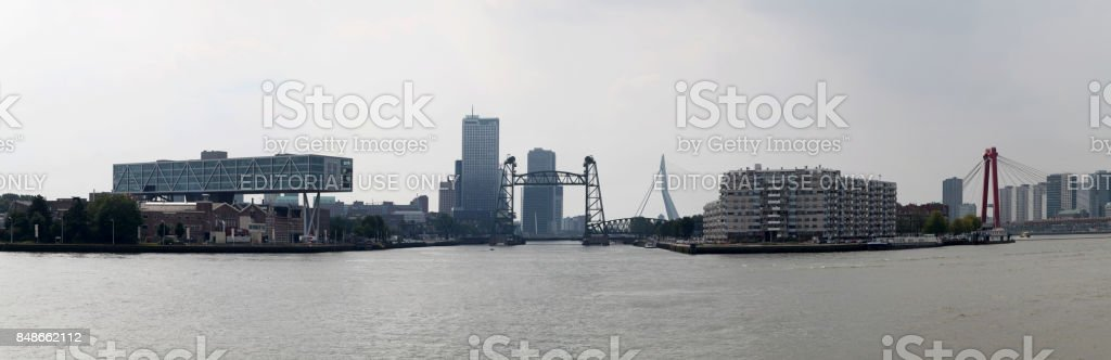 Meuse river in Rotterdam stock photo