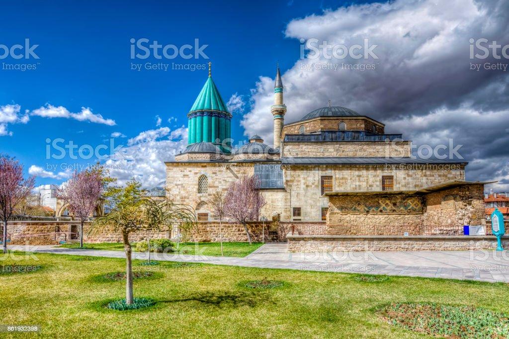 Mevlana Mosque in Konya City stock photo