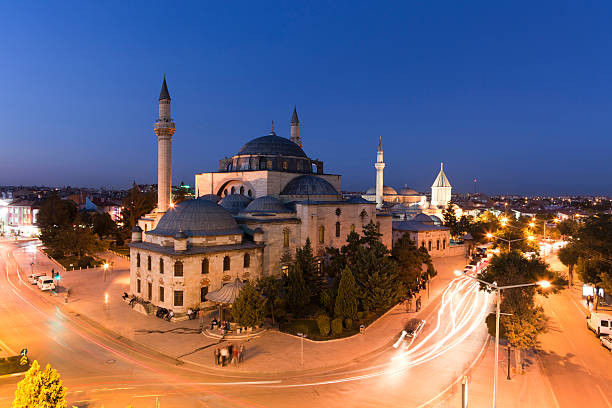 mevlana mevlana-konya turkey selimiye mosque night stock pictures, royalty-free photos & images