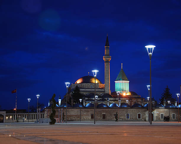 mevlana Caesar,pool,Mosque,night,tree,Sky,beautiful,Culture Park,selimiye Mosque,reflection,place,Blue,Granite selimiye mosque night stock pictures, royalty-free photos & images