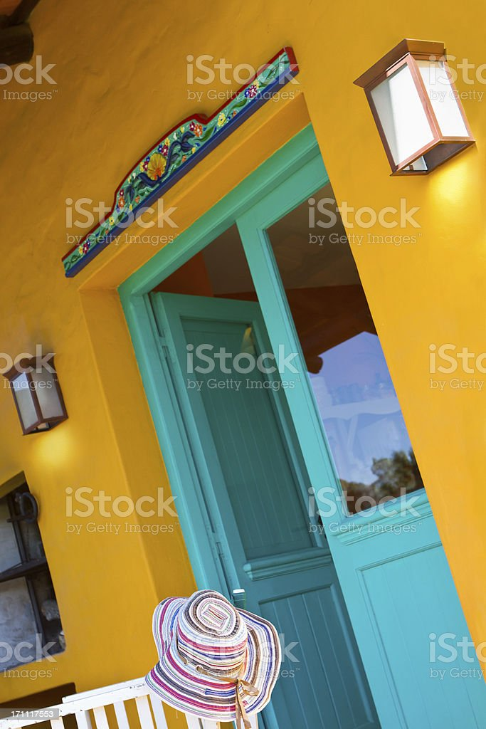 Mexicain architecture at sunset - Santa Fé Style royalty-free stock photo