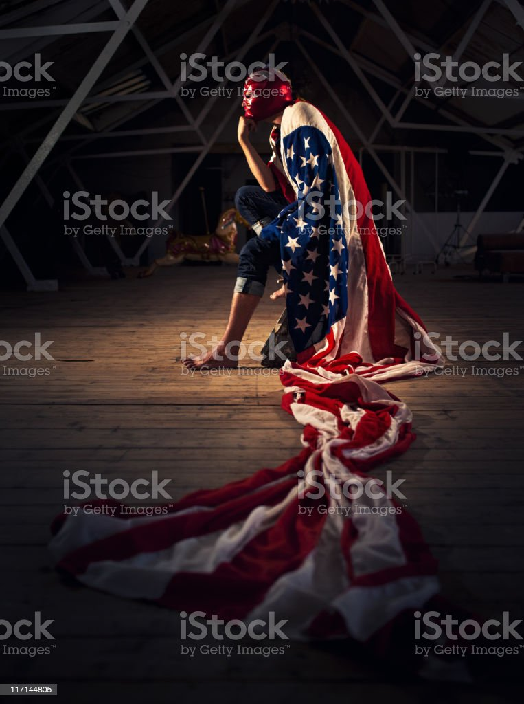 mexican american luchador royalty-free stock photo
