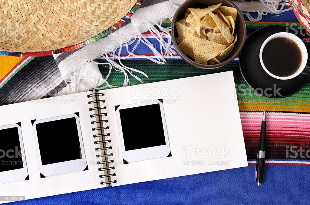 Mexican background with blank photo album. royalty-free stock photo