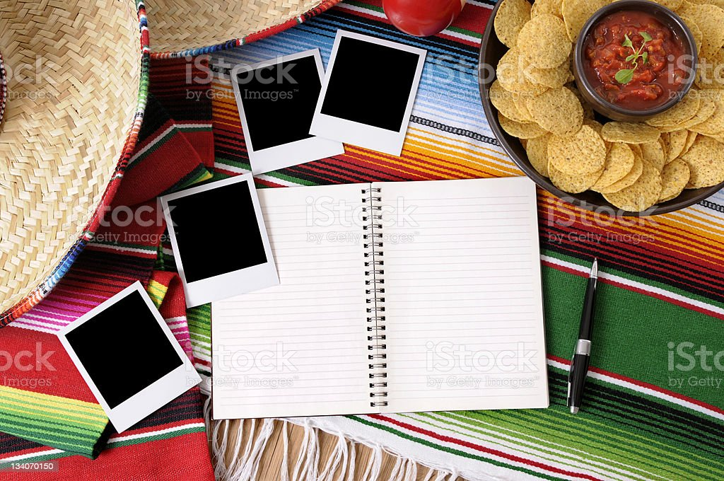 Mexican background with blank photos. royalty-free stock photo